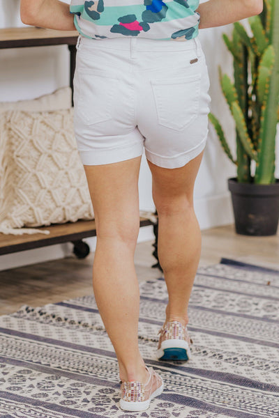 Krystal Kan Can Rolled Cuff Jean Shorts in White - Filly Flair