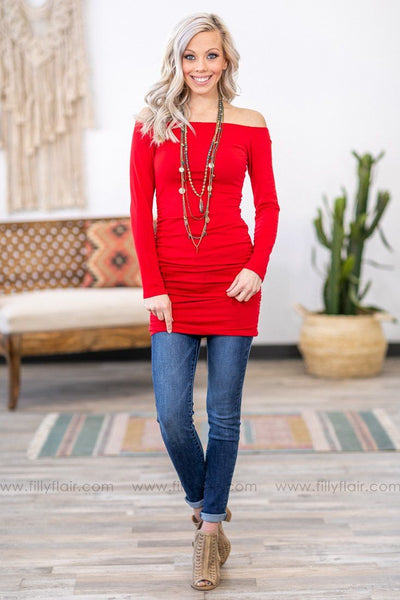 #ST1# Sure Feels Good Long Sleeve Ruched Side Wide Neck Tunic in Red - Filly Flair
