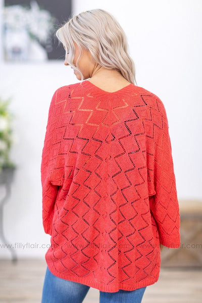 The Way You Laugh 3/4 Sleeve Knit Cardigan in Coral - Filly Flair
