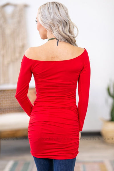 Sure Feels Good Long Sleeve Ruched Side Wide Neck Tunic in Red - Filly Flair