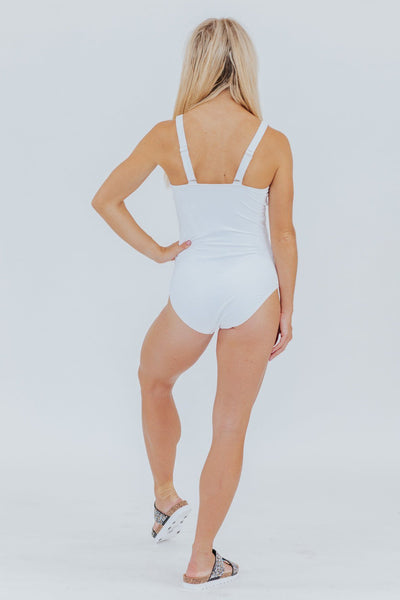 Beach Bum Cross Front One Piece in White - Filly Flair