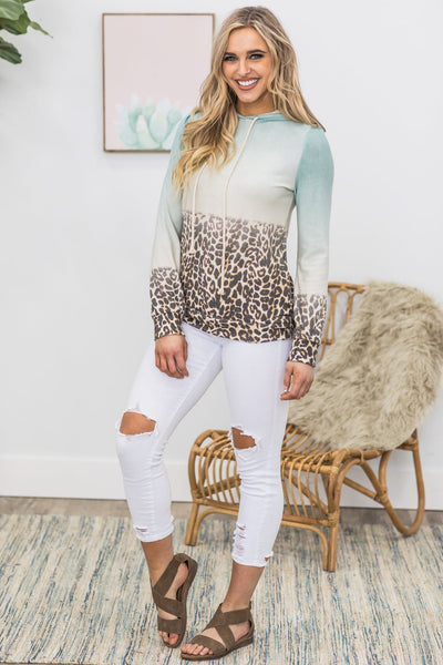 Take a Guess Ombre Animal Print Hoodie in Sage - Filly Flair