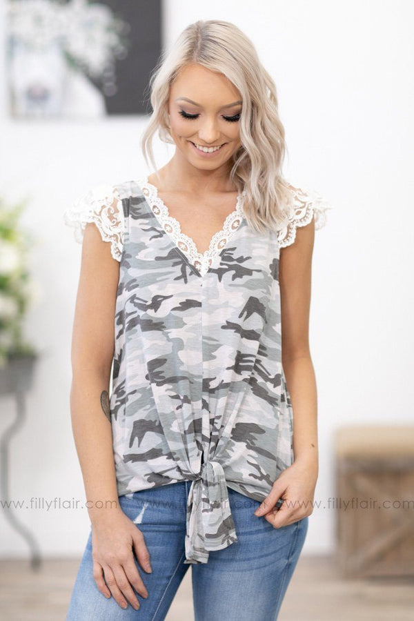 Perfect Start Lace Cap Sleeve Tied Knot Top In Grey Camo - Filly Flair