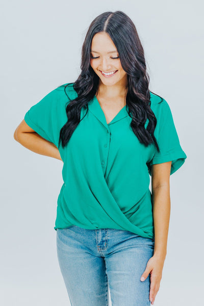One More Time Button Up Top in Green - Filly Flair