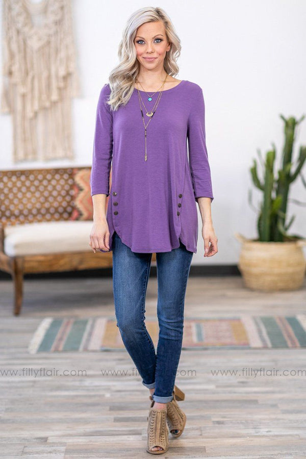 Button Love 3/4 Sleeve Top in Lilac - Filly Flair
