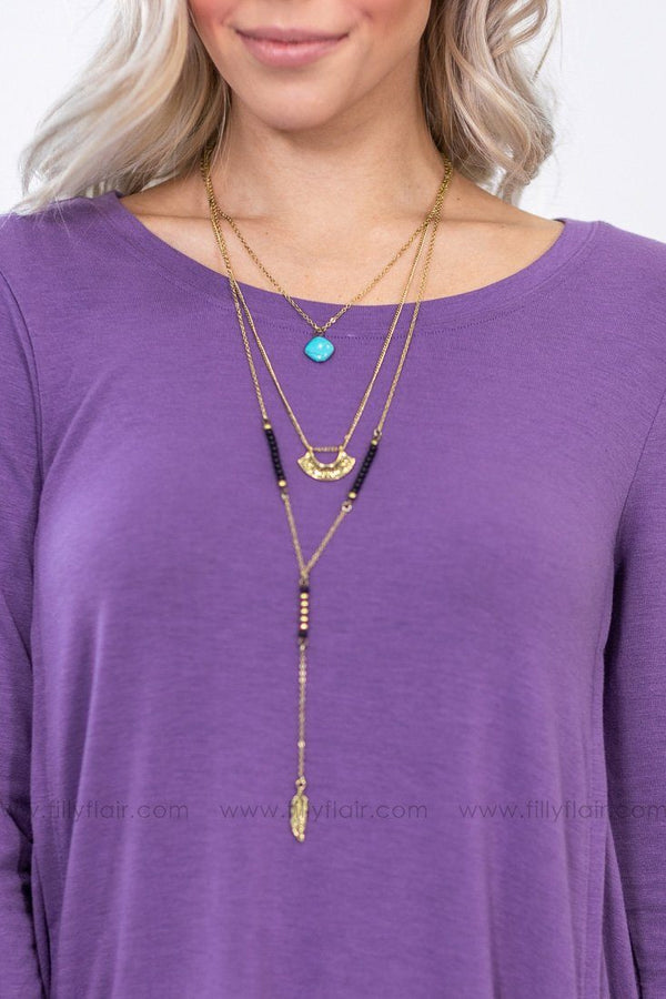 Take Me There Layered Turquoise and Feather Charm Gold Necklace - Filly Flair