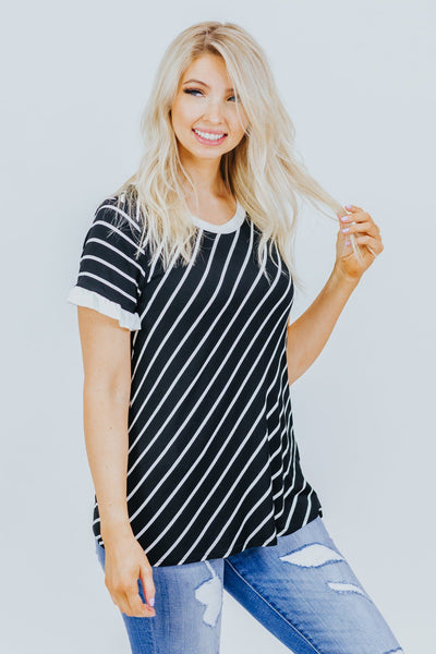 Having A Great Time Striped Short Sleeve Top in Black - Filly Flair
