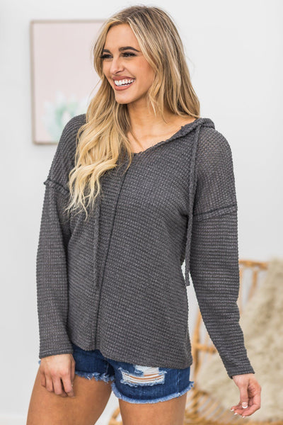 Changing Times Hooded Top In Grey - Filly Flair