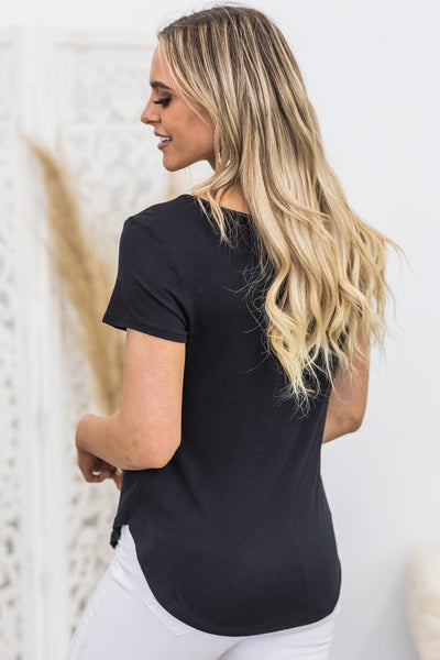 Here To Stay V-Neck Short Sleeve Top in Black - Filly Flair