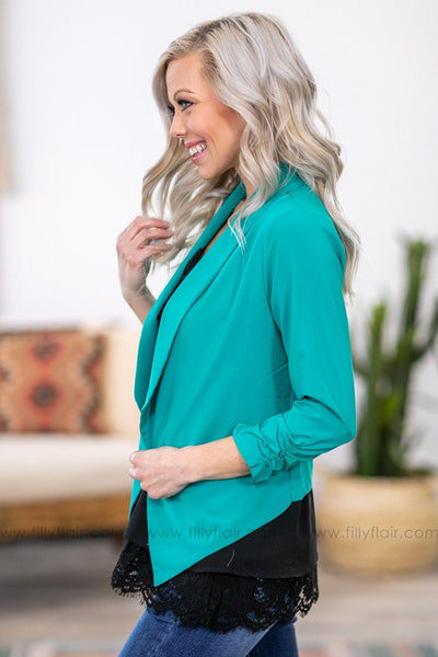 Bring Me To Life 3/4 Sleeve Fitted Blazer in Jade - Filly Flair