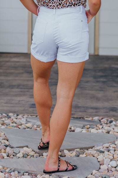 Janelle Judy Blue Mid Rise Boyfriend Fit Distressed White Jean Shorts - Filly Flair