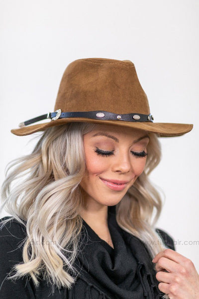 On Top of The World Taupe Hat With Black Western Hatband - Filly Flair