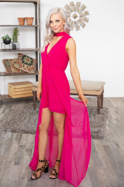 Take It From Here Mock Neck Romper Skirt in Hot Pink - Filly Flair