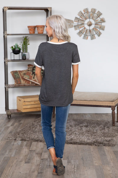 Coffee Saves Lives Short Sleeve Tee in Charcoal White - Filly Flair