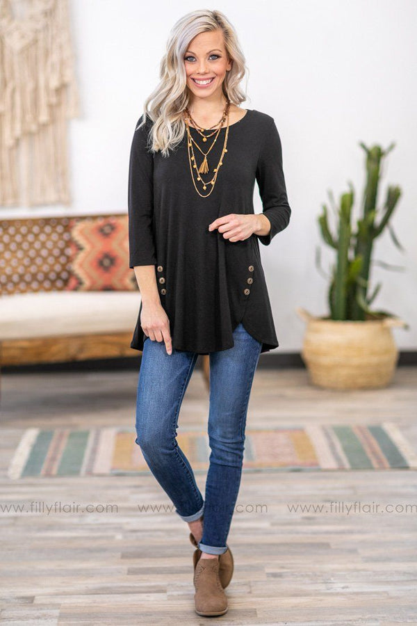 Button Love 3/4 Sleeve Top in Black - Filly Flair