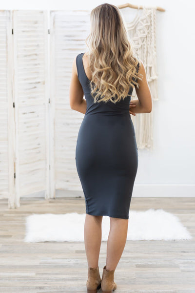 Check Baby Check Scoop Neck Sleeveless Dress in Charcoal - Filly Flair