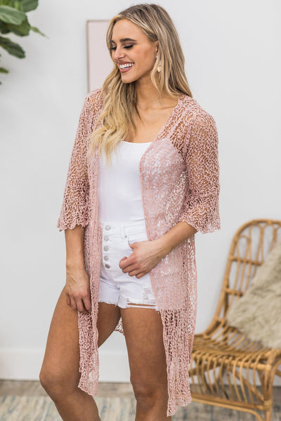 Days Of Our Lives Crochet Open Front Cardigan in Mauve - Filly Flair