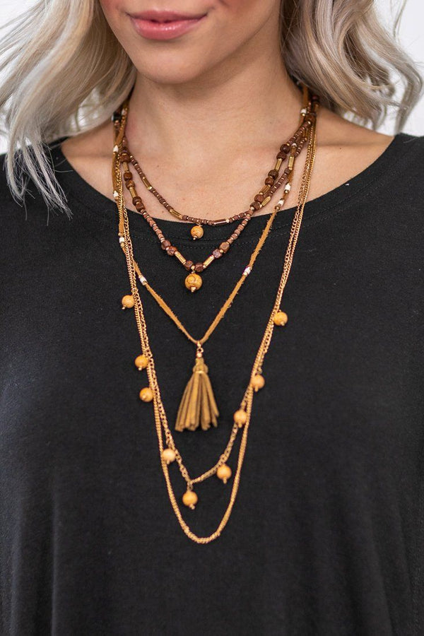Because of You Layered Tassel Necklace in Brown - Filly Flair