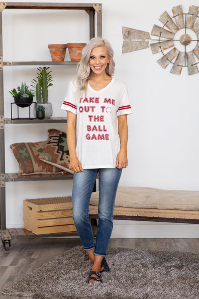 Take Me Out To The Ball Game Short Sleeve Tee in White - Filly Flair