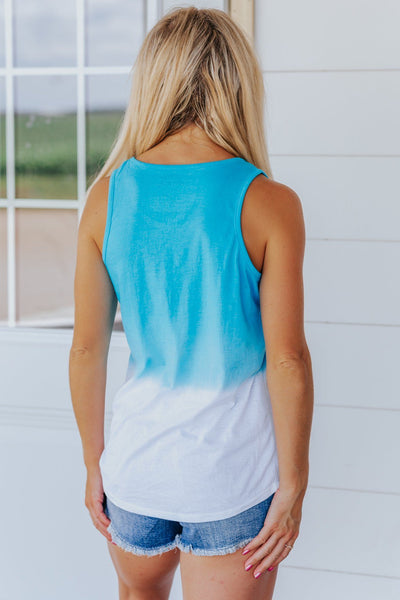 For Today And Tomorrow Dip Dyed Tank Top in Azul - Filly Flair