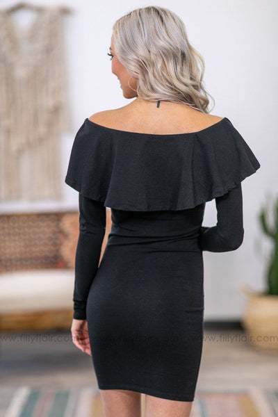Have It All Ruffle Wide Shoulder Body Con Dress in Black - Filly Flair