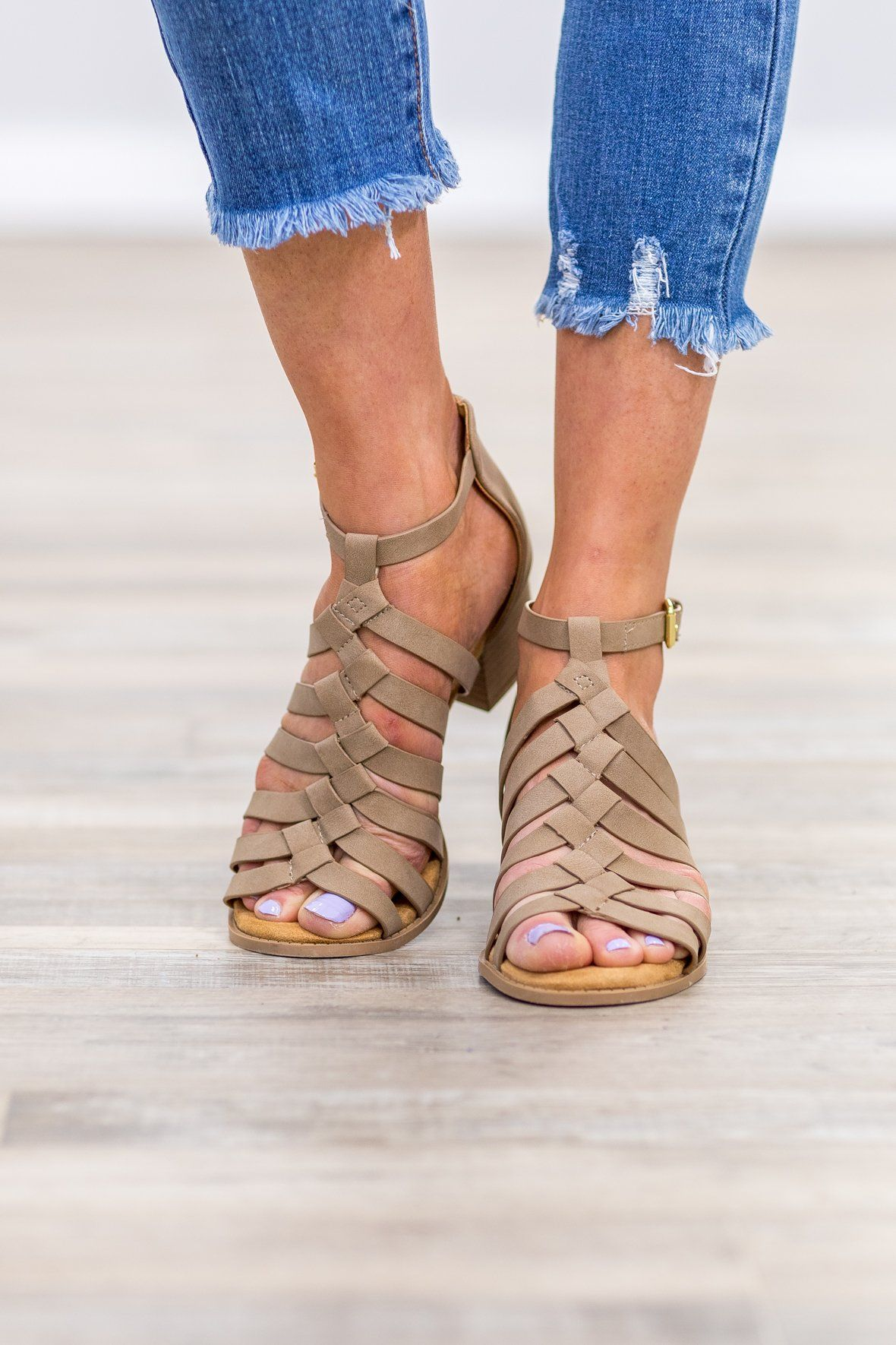 8733b1b4a Beyond This World Open Toe Strappy Sandal Heels in Taupe - Filly Flair