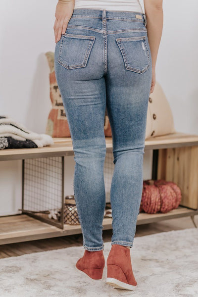 Sadie Sneak Peek Medium Wash Distressed Skinny Jeans - Filly Flair
