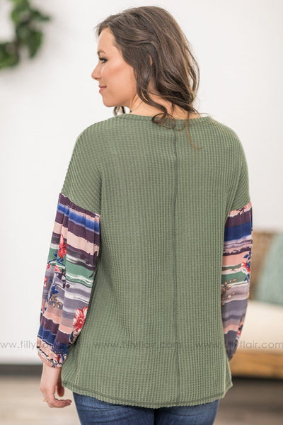 Let You Go Floral and Striped Long Bishop Sleeve Thermal Top in Olive - Filly Flair