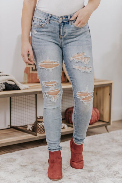 Jasper Judy Blue Mid Rise Light Wash Distressed Skinny Jeans - Filly Flair