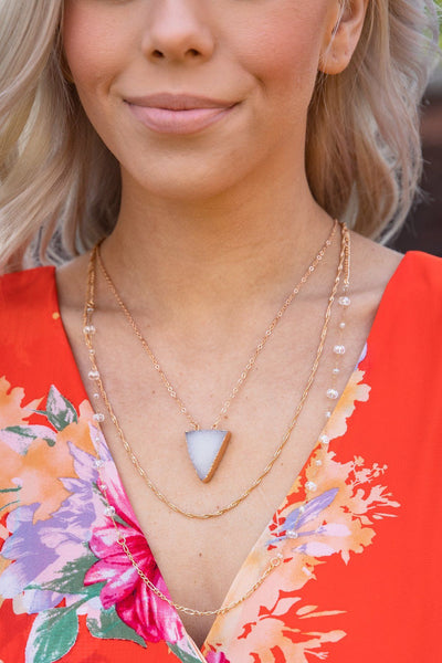 Filly Flair White Druzy Triangle Gold Chain Layered Necklace - Filly Flair