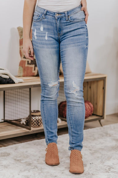 Kan Can Chanel-Keira Distressed Skinny Light Wash Jeans - Filly Flair