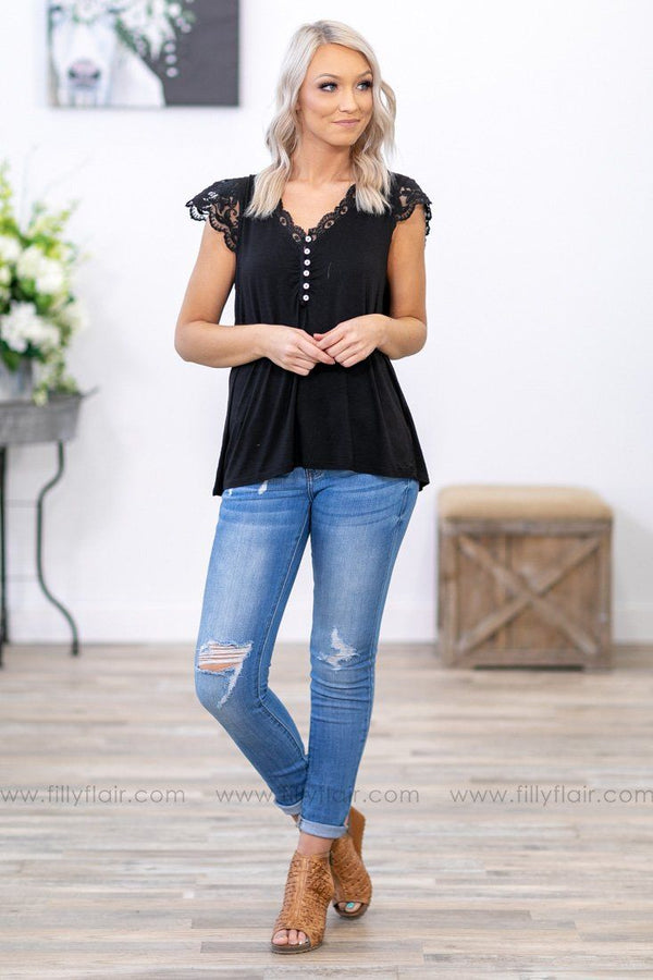Give You My Best Short Sleeve Lace Trim Button Detail Top in Black - Filly Flair