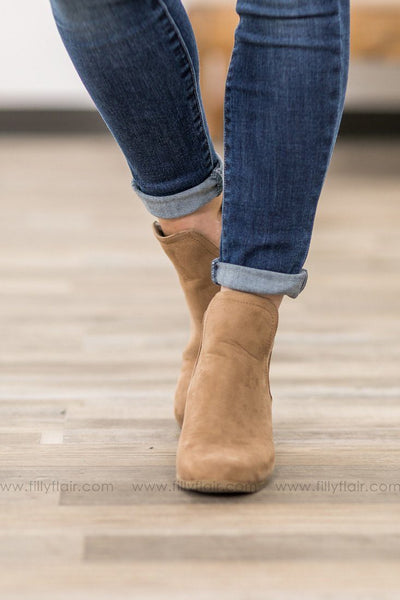 Bring Me Home Suede Booties in Taupe - Filly Flair