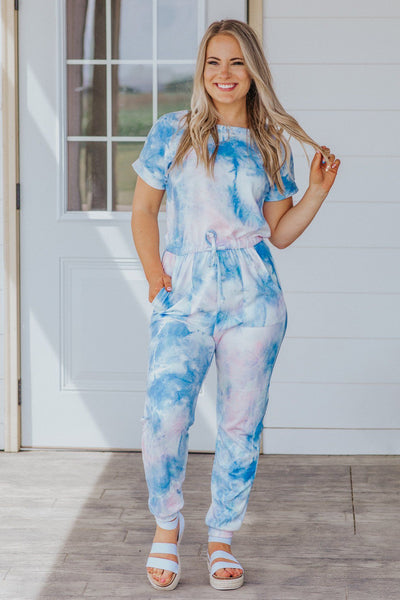 Playing With Magic Tie Dye Short Sleeve Elastic Waist Jumpsuit in Blue - Filly Flair