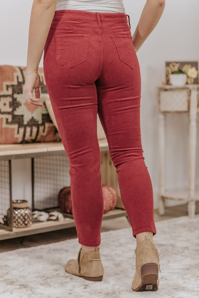 Cherry Cello Mid Rise Courduroy Crop Skinny Jean in Dark Cherry - Filly Flair