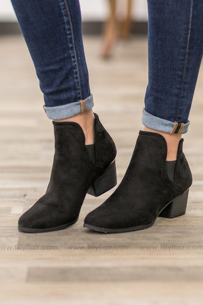 Bring Me Home Suede Booties in Black - Filly Flair