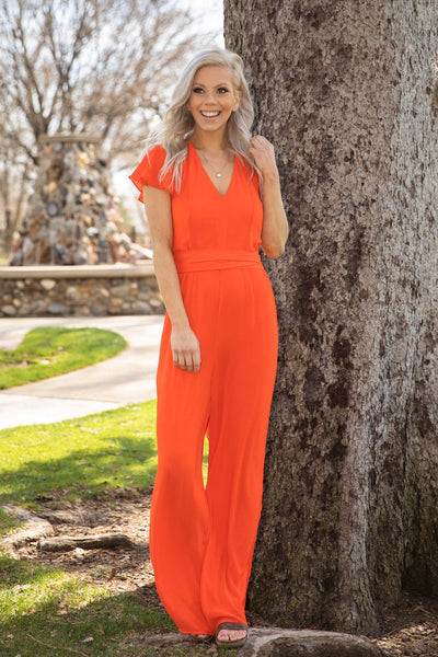 Love Someone Flutter Sleeve Jumpsuit in Orange - Filly Flair