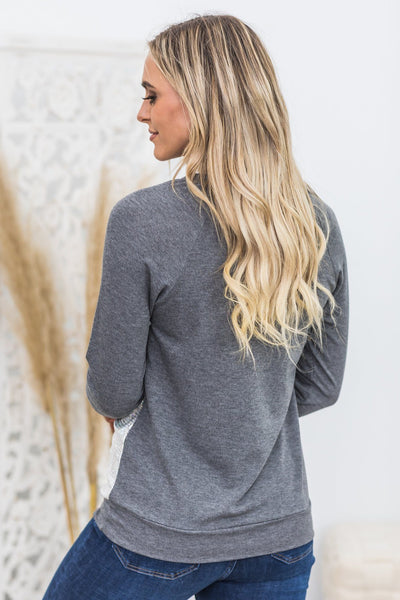 Shine Bright Like A Diamond Long Sleeve Top in Charcoal - Filly Flair
