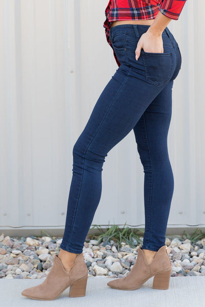 Sweet And Sassy Mid-Rise Skinny Hyper Denim Dark Wash - Filly Flair