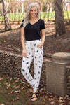 In The Limelight Star Jogger Pants in White Charcoal - Filly Flair