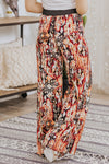 I Am A Difference Maker Printed Elastic Waist Wide Leg Pants in Multi Orange - Filly Flair