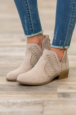 Cadence Laser Cut Open Toe Heels in Taupe