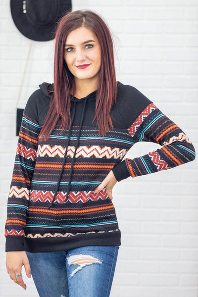 It Had To Be You Chevron Printed Long Sleeve Hoodie in Black - Filly Flair