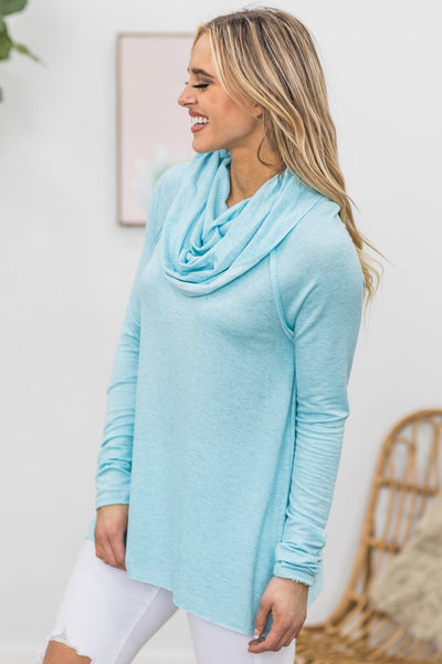 The Good With The Bad Cowl Neck Top in Light Blue - Filly Flair