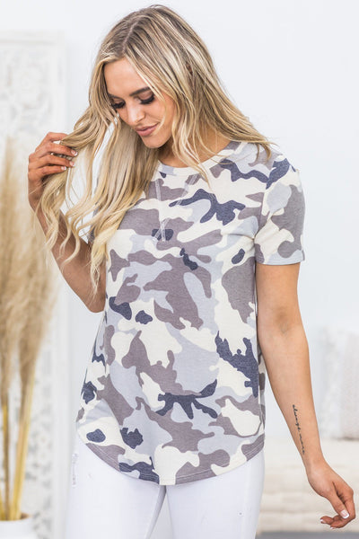 Fall In Love Tonight Camo Print Short Sleeve Top in Mocha - Filly Flair