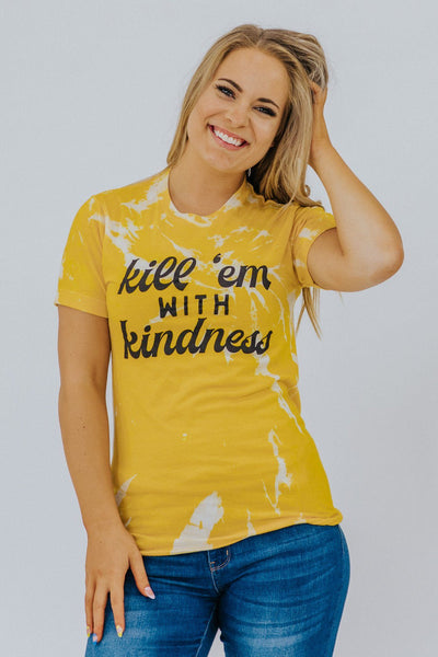 """Kill 'Em With Kindness Graphic Tee in Yellow - Filly Flair"