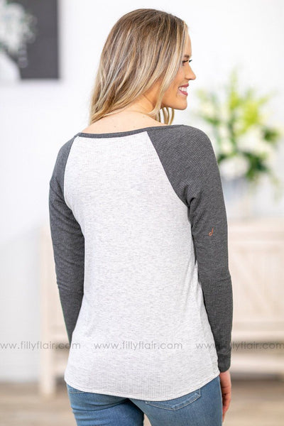 Go With It Long Sleeve Ribbed Baseball Top in Heathered Grey - Filly Flair