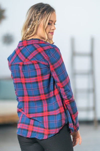 Early Morning Hooded Flannel in Navy Red - Filly Flair