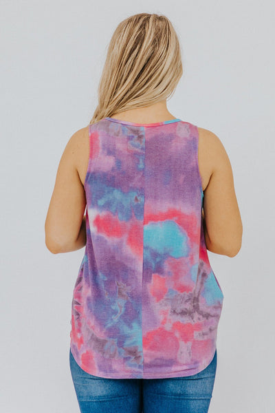 Free To Be Me Tie Dye Front Knot Tank Top in Purple - Filly Flair