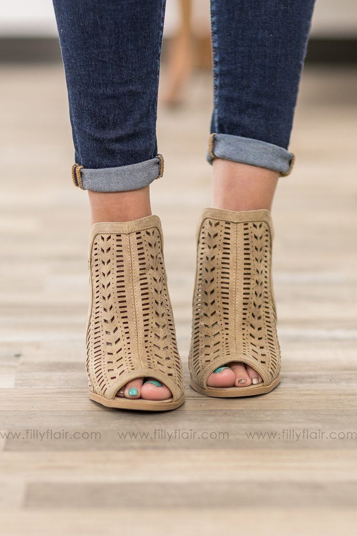 Cadence Laser Cut Open Toe Heels in Taupe - Filly Flair